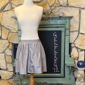 J Crew Silver Silk Skirt